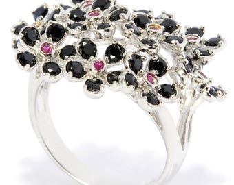 Sterling Silver 2.12ctw Black Spinel And Ruby Cluster Ring SZ 6,7