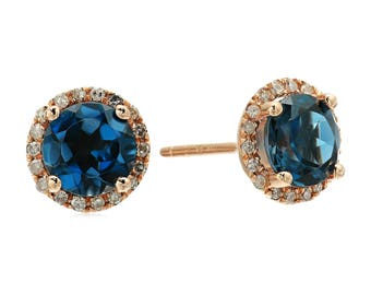 10k Rose Gold London Blue Topaz, Diamond Classic Halo Stud Earrings