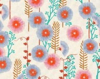 SANTA FE by Sarah Watts From Cotton and Steel Unbleached Cotton Hollyhocks Grey