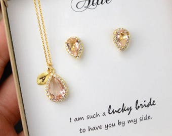 Rose Gold Bridal Set, Bridesmaids Jewelry Set, Crystal Pendant and Earrings, Wedding Jewellery, Rose Gold Bridal Jewelry SET,silver set