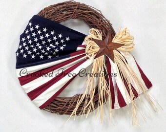 Flag Wreath, Patriotic Wreath, Americana Wreath, 4th Of July, Memorial Day, Summer Wreath, Grapevine Wreath, Spring Wreath, Home Decor, Flag