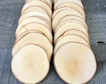 """25 Birch wood slices 2.5"""" - 3.25"""""""