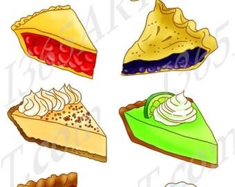 50% OFF Slice Pie Clipart, Dessert, Digital, Scrapbooking, Party Invitations, Lemon, Key Lime, Cherry, Pumpkin, Blueberry PNG JPEG Commercia
