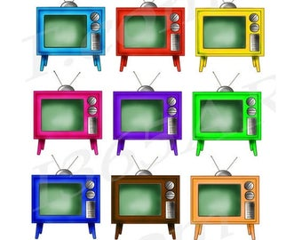 50% OFF Retro Television Clipart Clip art, TV Clipart, Vintage Television, tv Clip art, Graphic, Digital, PNG Jpeg, Commercial