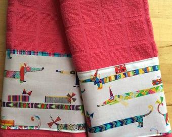 Dachshund kitchen towels, dog kitchen towels, bar towels
