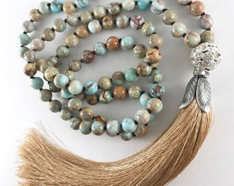 Beaded Tassel Necklace, Turquoise Statement Necklace, Long Boho Necklace, Beaded Turquoise Necklace, Hand Knotted Necklace, Bohemian Jewelry