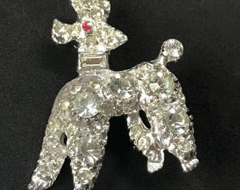 "Vintage Friskie Little Pave Rhinestone Poodle with Red Rhinestone Eye,   1 1/2"" x 2"""