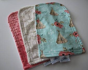 Baby Girl Burp Cloths - Tee Pees and Roses, Embossed Arrow - Burp Pads, Cotton and Soft Chenille - Nursery, Aqua, Beige, Coral, Pink, White