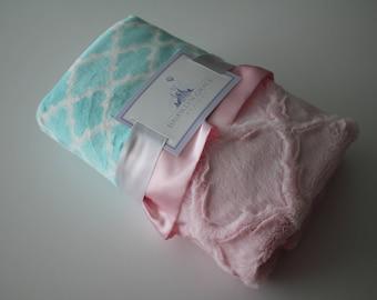 Aqua Moroccan Tile with Baby Pink Embossed Lattice Minky & Baby Pink Satin, Lovie, Girls, Baby, Nursery, Crib Bedding