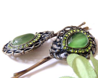 Vintage Tatting Green Hair Clip, Bridal Hairpin, Antique Style Jewelry, Bronze Hair Clips, Hair Pin, Pin with amazing Stones, Bobby Pins