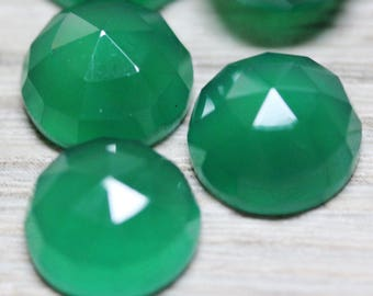Irish Green Onyx Faceted Polished 10mm Round Cabochons - 5 Pieces