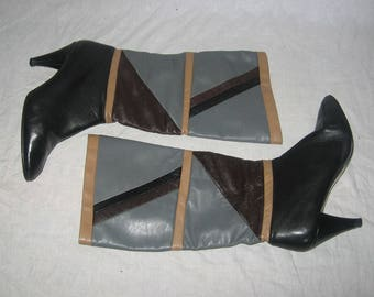 Vintage High Heel Multi-Color Color Block Boho Thigh High Leather Boots Size 6