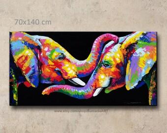 70x140 cm, Elephant painting, wall decor