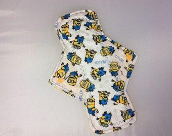 10.25 Minons on  cotton    Top reusable cloth pad ( regular )