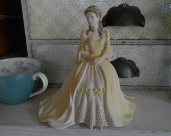 lady Coalport figurine matt china Kate Beau Monde 1993 gift for her collectible shabby chic french decor ballgown decorative ornament