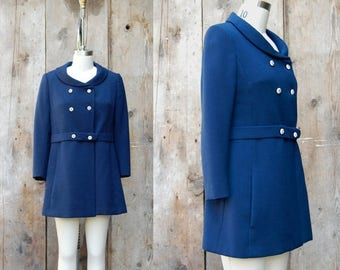 25% OFF ON SALE - c. 1960s mod navy blue coat + vintage 60s fitted coat + vintage mod blue and white jacket