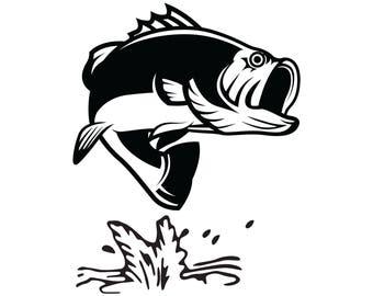 Bass Fish Jumping Car Decal