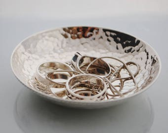 Silver dishes, NEW Sterling silver hammered trays, handmade, sterling silver ring dish
