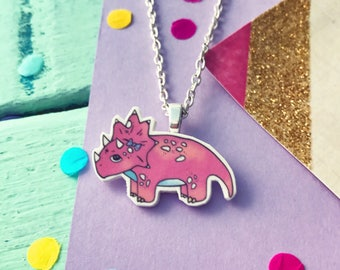 triceratops necklace / cute dinosaur necklace