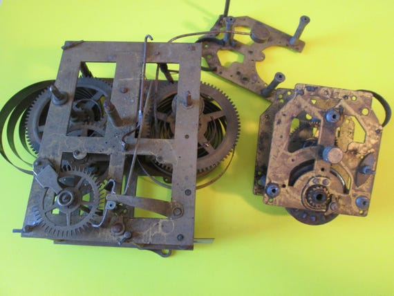 1 Antique Ansonia Clock Co. Partial Works and 2 Clock Frames for your Clock Projects,  Steampunk Art