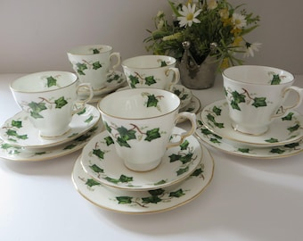 Colclough vintage 1960's Ivy Leaf tea trio