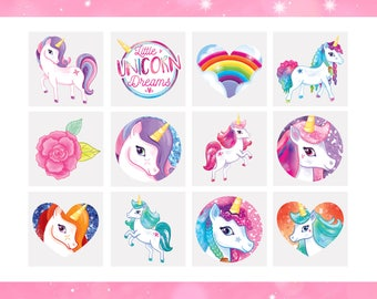 12 x Unicorn Tattoos | Unicorn Temporary Tattoos | Unicorn Party Bag Fillers | Childrens Loot Bag Filler Girls Birthday