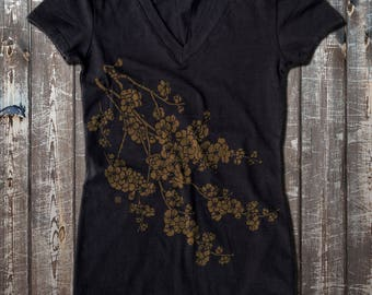 Cherry Blossom graphic Women's Fitted V-Neck T-Shirt