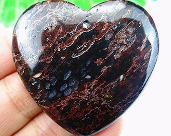45mm Black Plum  Blossom Jasper  45mm Heart Gemstone Pendant Bead