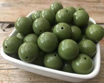 20mm Army Green Solid Chunky Bead, Bubblegum Bead, Acrylic Bead, DIY Chunky Necklace, 10 Count