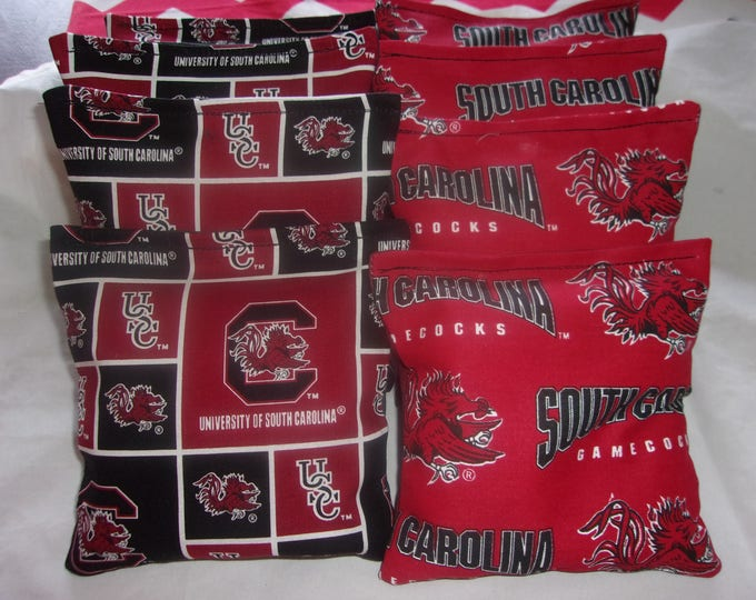 8 ACA Regulation Cornhole Bags - University of South Carolina USC Gamecocks on 2 Prints
