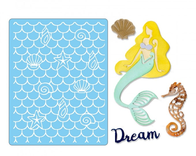 Will ship March 20th - Sizzix Tim Holtz Thinlits Die Set 4PK w/Textured Impressions - Dream Mermaid 662752