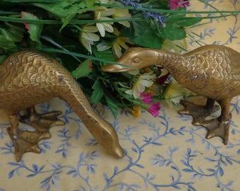 Vintage Brass Goose / Geese Figurine set of 2 Paperweights