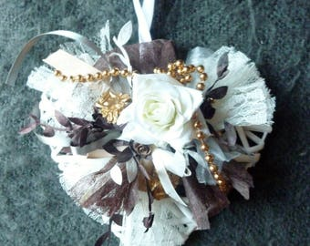 White Wicker heart, pearls, roses, Angels: precious happiness