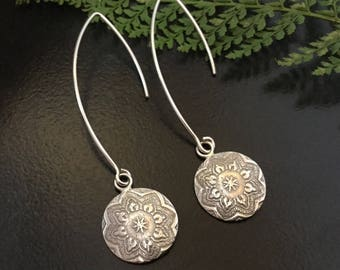 Mandala earrings, drop earrings, indi earrings, boho earrings, hippy earrings, gift for mum, gift for girlfriend, teenage girl gift,