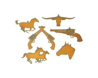 Wild West Rusty Metal  Ornament Assortment