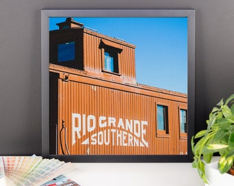 Framed photo paper poster - Red Silo Original Art - Rio Grande Southern Caboose Train Car