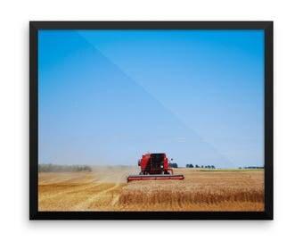 Framed photo paper poster - Red Silo Original Art - Harvest King