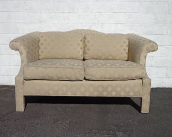 Sofa Loveseat Camelback Couch Parsons Asian Chinoiserie Settee Lounge Formal Bench Seating Settee Chaise Bohemian Boho Chic