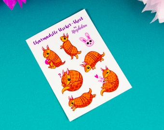 Adorable Armadillo Sticker by Neophobica - Cute Sticker Set - Charmadillo Sticker-Sheet