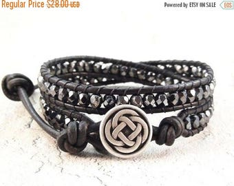 SALE Leather Wrap Bracelet, Celtic Knot Bracelet, Black Beaded Jewelry, Leather Jewelry