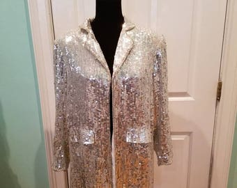 Nos Vintage 100% Silk Silver Sequin Blazer
