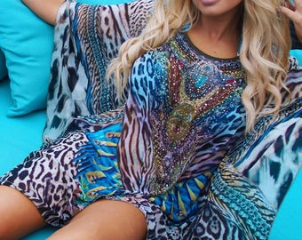 Glamorous Silk & Crystal Animal Print Short Kaftan