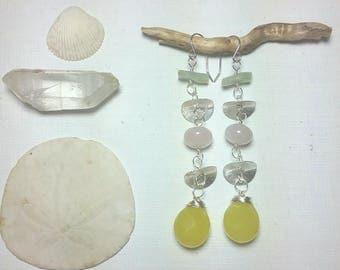 Dangle gemstone earrings, long earrings, summer earrings, yellow stone earrings, rose quartz earrings, festival  earrings,