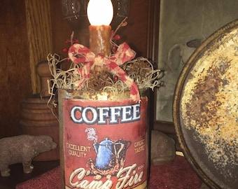 Primitive Rusty Tin Can-dle Campfire Coffee
