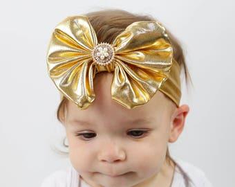 Gold Headband/Baby Headband/Baby Headbands and Bow/Infant Headband/Baby Girl Headband/Girl Headband /Toddler Headband/Photo Prop Baby