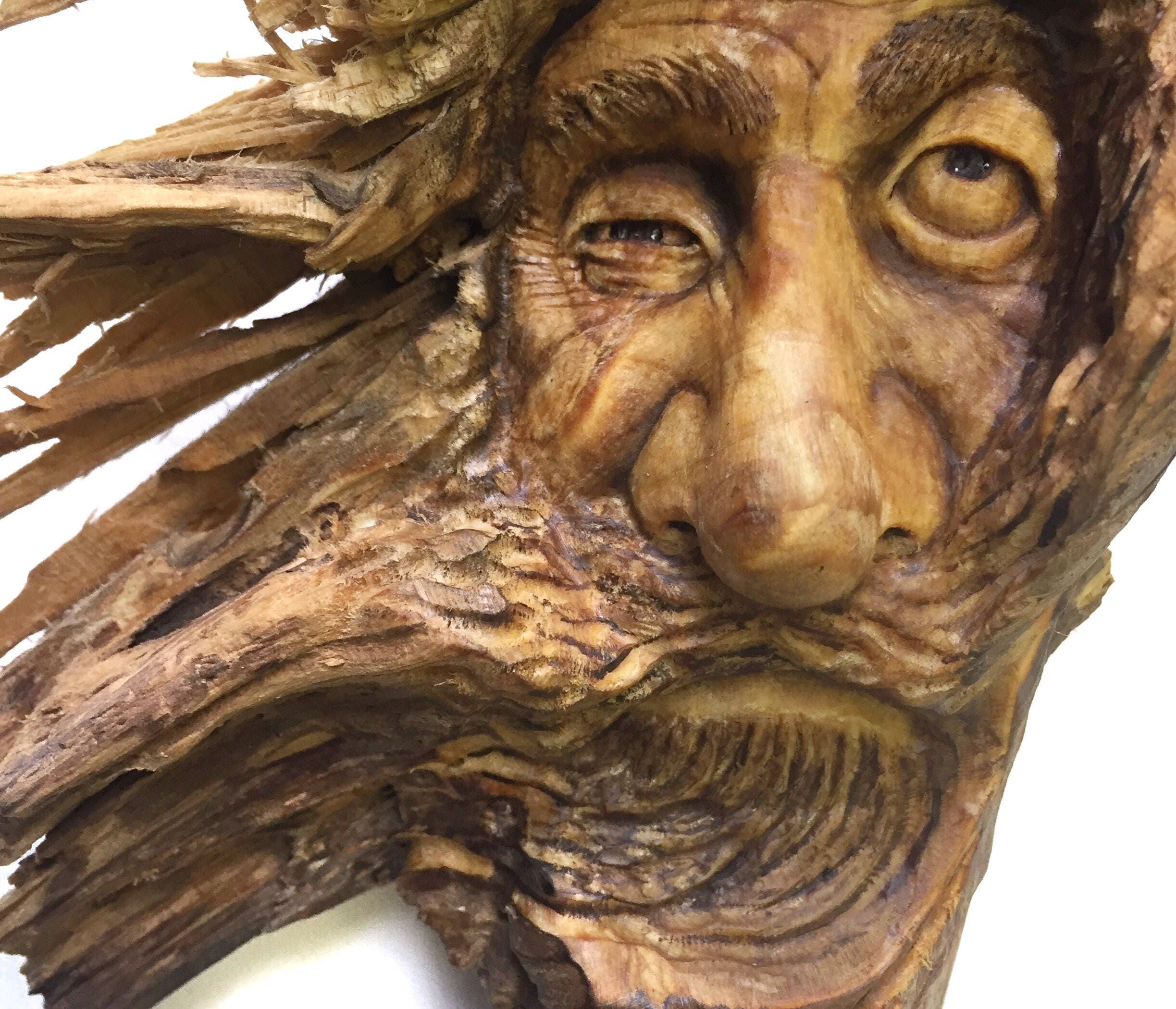 Wood spirit carving bed head wall art decor