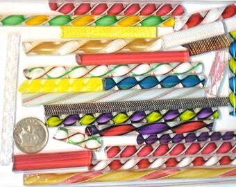 Latticino, Zanfirico and Ribbon Mix Variety Pack,  4 ounce package, 96 COE Fusing and Jewelry Canes #5