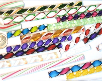 Latticino, Zanfirico and Ribbon Mix Variety Pack,  4 ounce package, 96 COE Fusing and Jewelry Canes #9