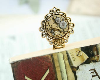 Bookmark/ Steampunk Bookmark with Watch Movement/ Christmas Gifts for Reader/ Stocking Stuffers/Bronze Bookmark/ Book Mark