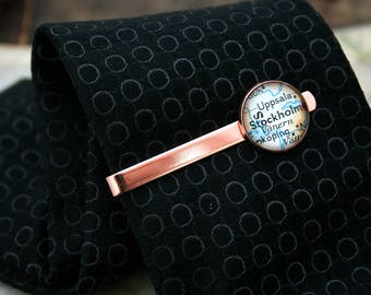 Rose Gold Tie Bar Custom Map Tie Bar in Rose Gold Anniversary Gift for Husband Map Tie Clip Wedding Gift for Groom Custom Tie Clip
